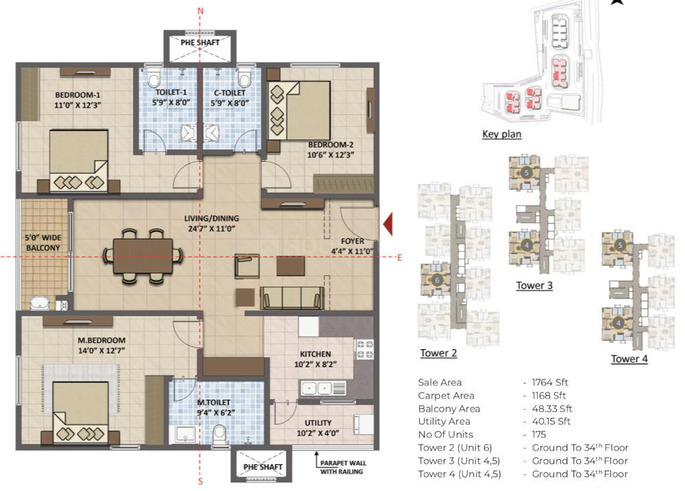 Prestige Tranquil Floor Plan: 3 BHK Unit with Built up area of 1765 sq.ft 1