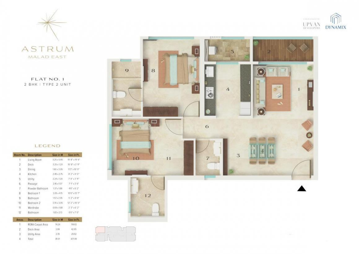Dynamix Astrum Floor Plan: 2 BHK Unit with Built up area of 799 sq.ft 1