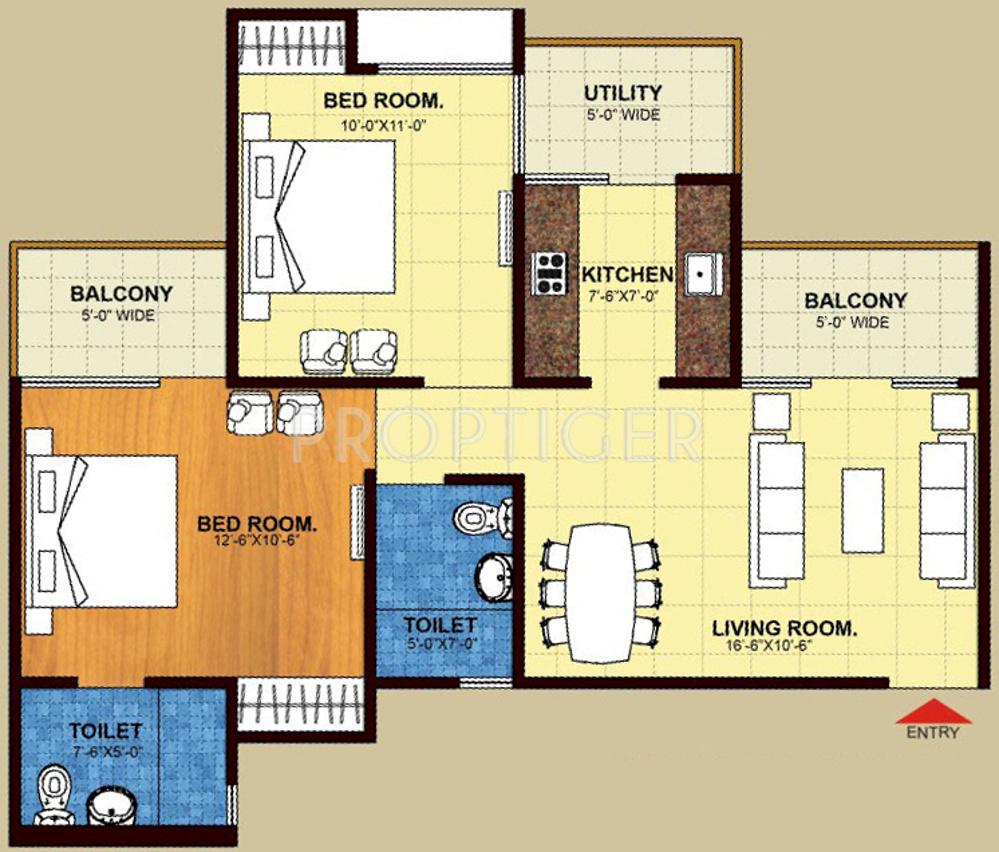 Trident Embassy Floor Plan: 2 BHK Unit with Built up area of 955 sq.ft 1