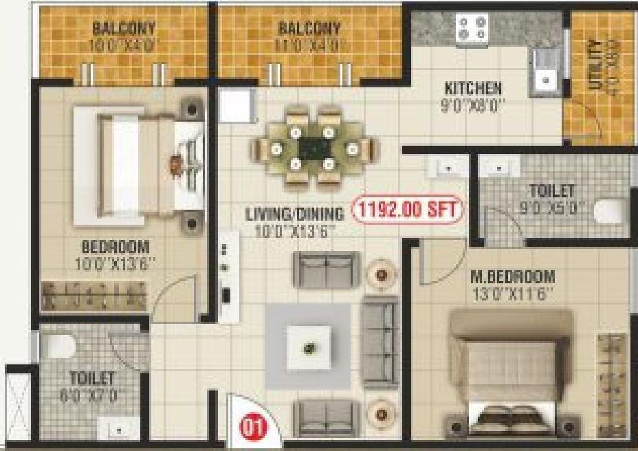 Bhoo Unnathi Vaibhavi Floor Plan: 2 BHK Unit with Built up area of 1192 sq.ft 1