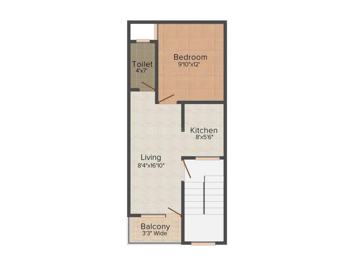 Guru Kripa Kripa Homes - I Floor Plan: 1 BHK Unit with Built up area of 450 sq.ft 1