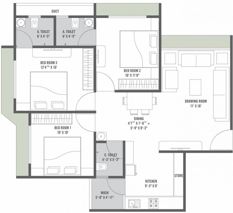 Arise Vibrant Floor Plan: 3 BHK Unit with Built up area of 176 sq.yd 1