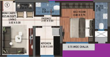 Adinathay Aurigae Residency D Wing Floor Plan: 1 BHK Unit with Built up area of 483 sq.ft 1