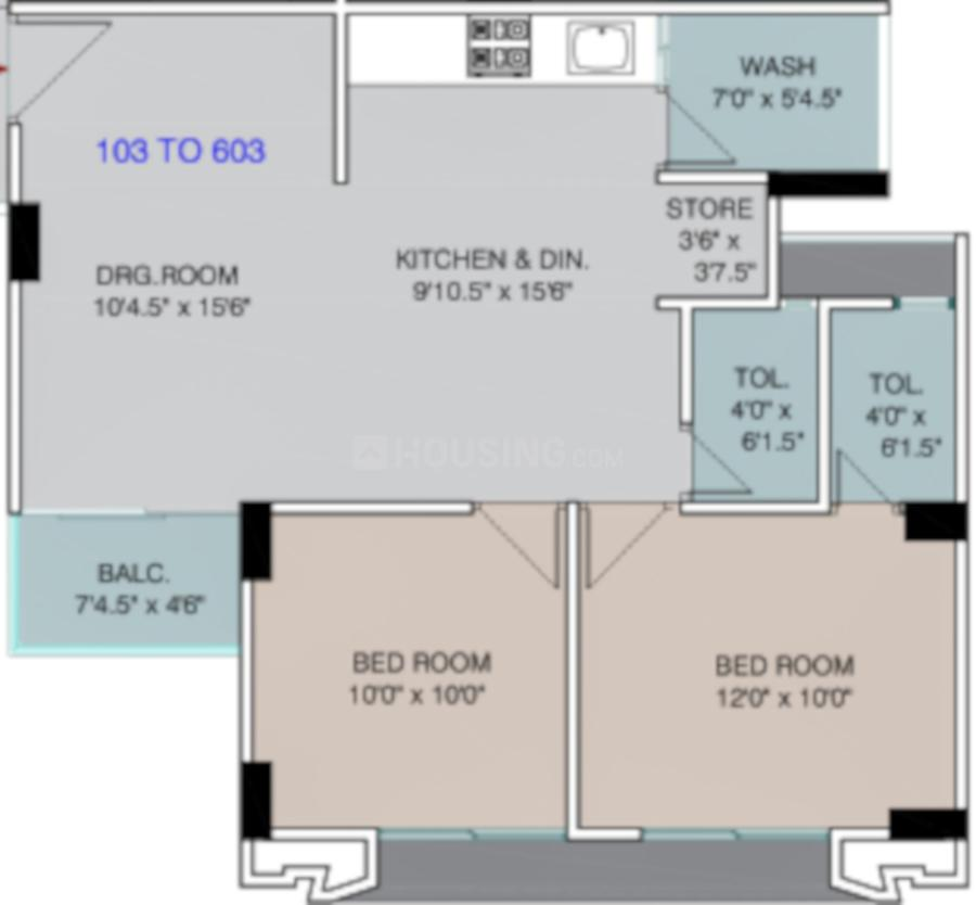 Suvarna Developers Residency Floor Plan: 2 BHK Unit with Built up area of 623 sq.ft 1