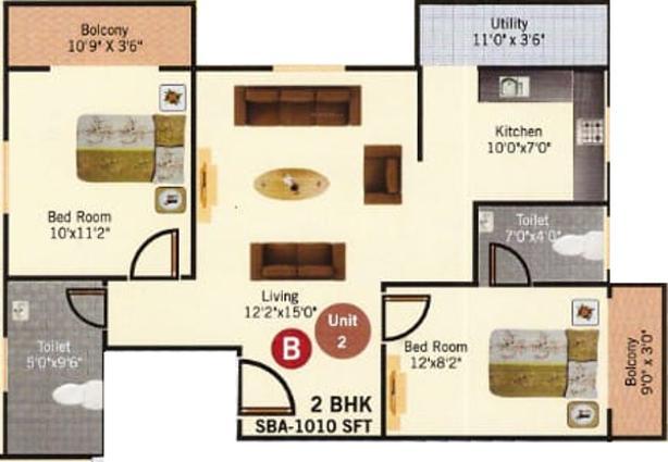 S V Moksha Green Floor Plan: 2 BHK Unit with Built up area of 1010 sq.ft 1