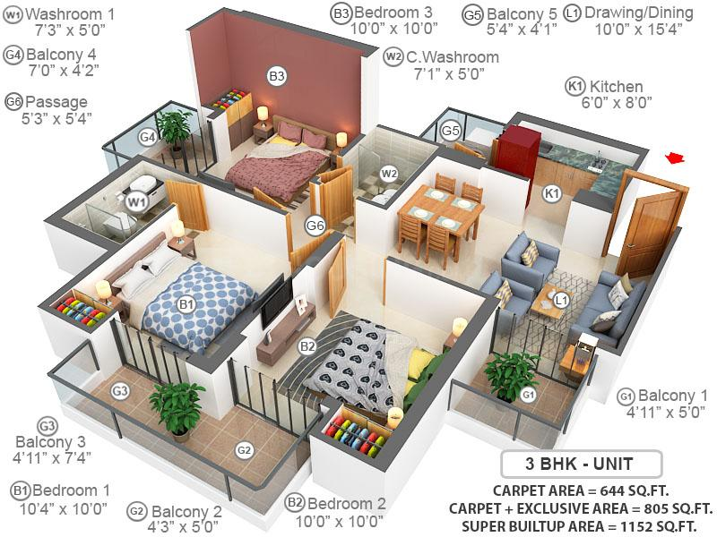 ABA Coco County Floor Plan: 3 BHK Unit with Built up area of 644 sq.ft 1