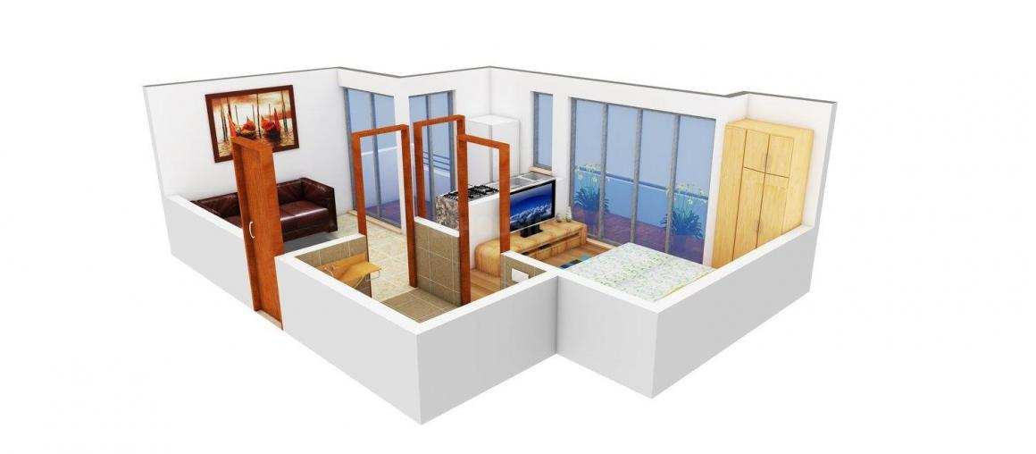 Floor Plan Image of 475.0 - 1195.0 Sq.ft 1 BHK Apartment for buy in Vcube Village Park