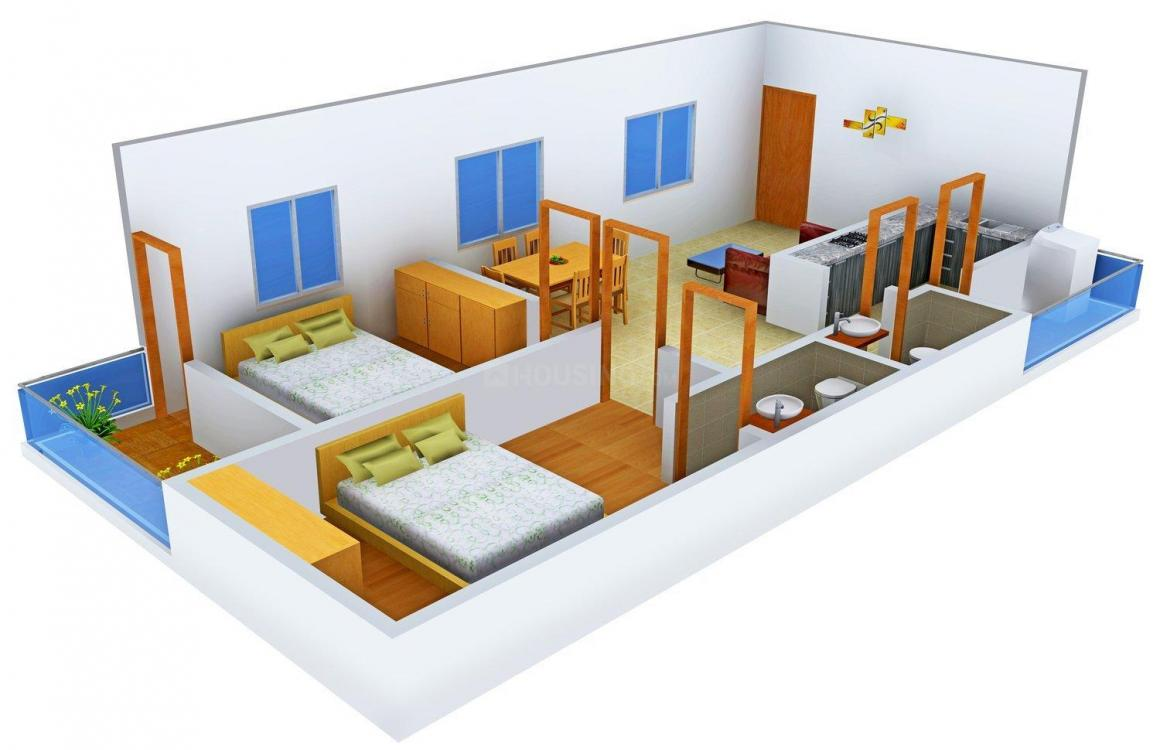 Gear Up Galaxy Floor Plan: 2 BHK Unit with Built up area of 1100 sq.ft 1