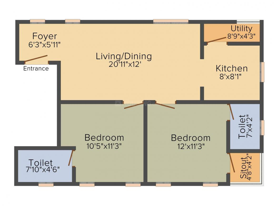 Floor Plan Image of 1048 - 1075 Sq.ft 2 BHK Apartment for buy in Bhoomi Flora Valley