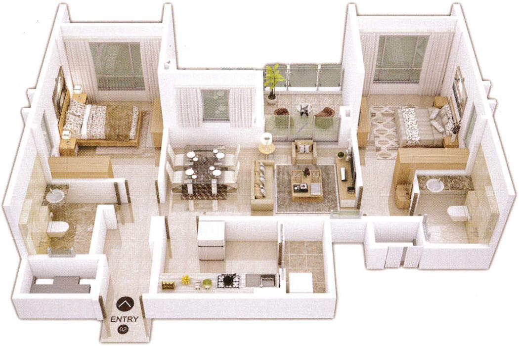Shapoorji Pallonji Residency Phase III Floor Plan: 2 BHK Unit with Built up area of 661 sq.ft 1