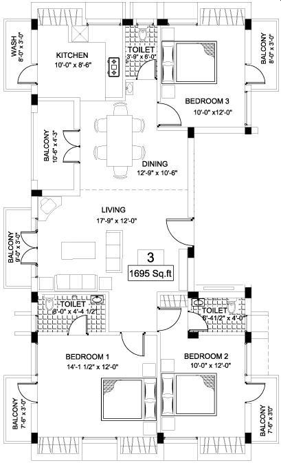 India Builders The Gabbro Garden Floor Plan: 3 BHK Unit with Built up area of 1695 sq.ft 1