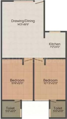 Floor Plan Image of 0 - 750 Sq.ft 2 BHK Apartment for buy in  Floors 1