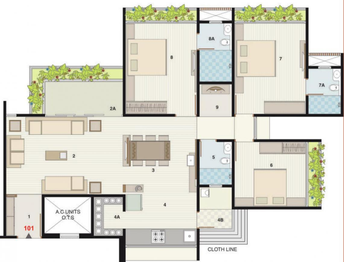 Binori Solitaire Floor Plan: 3 BHK Unit with Built up area of 2214 sq.ft 1