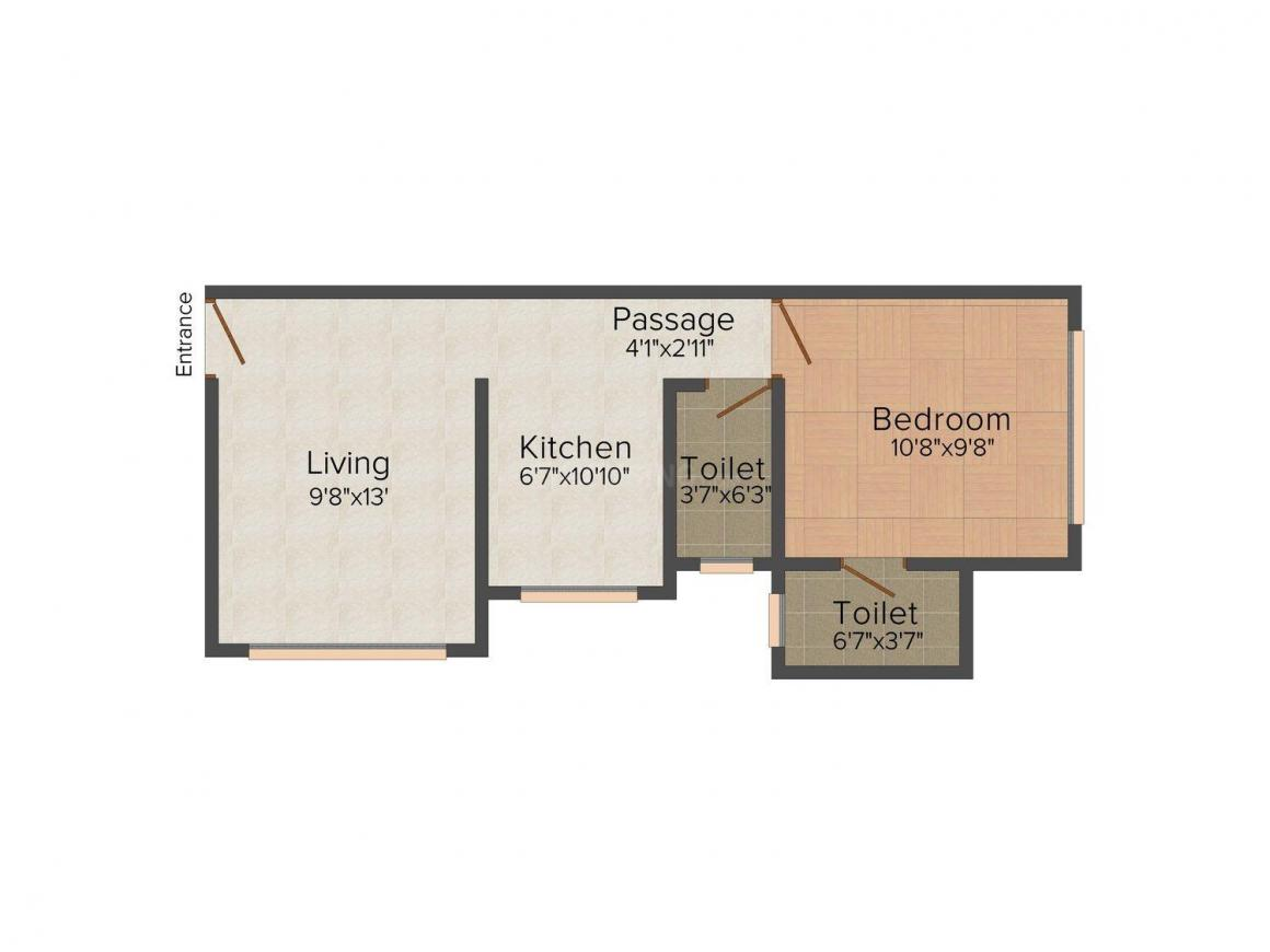 Floor Plan Image of 650 - 930 Sq.ft 1 BHK Apartment for buy in Vraj Anko Darshan