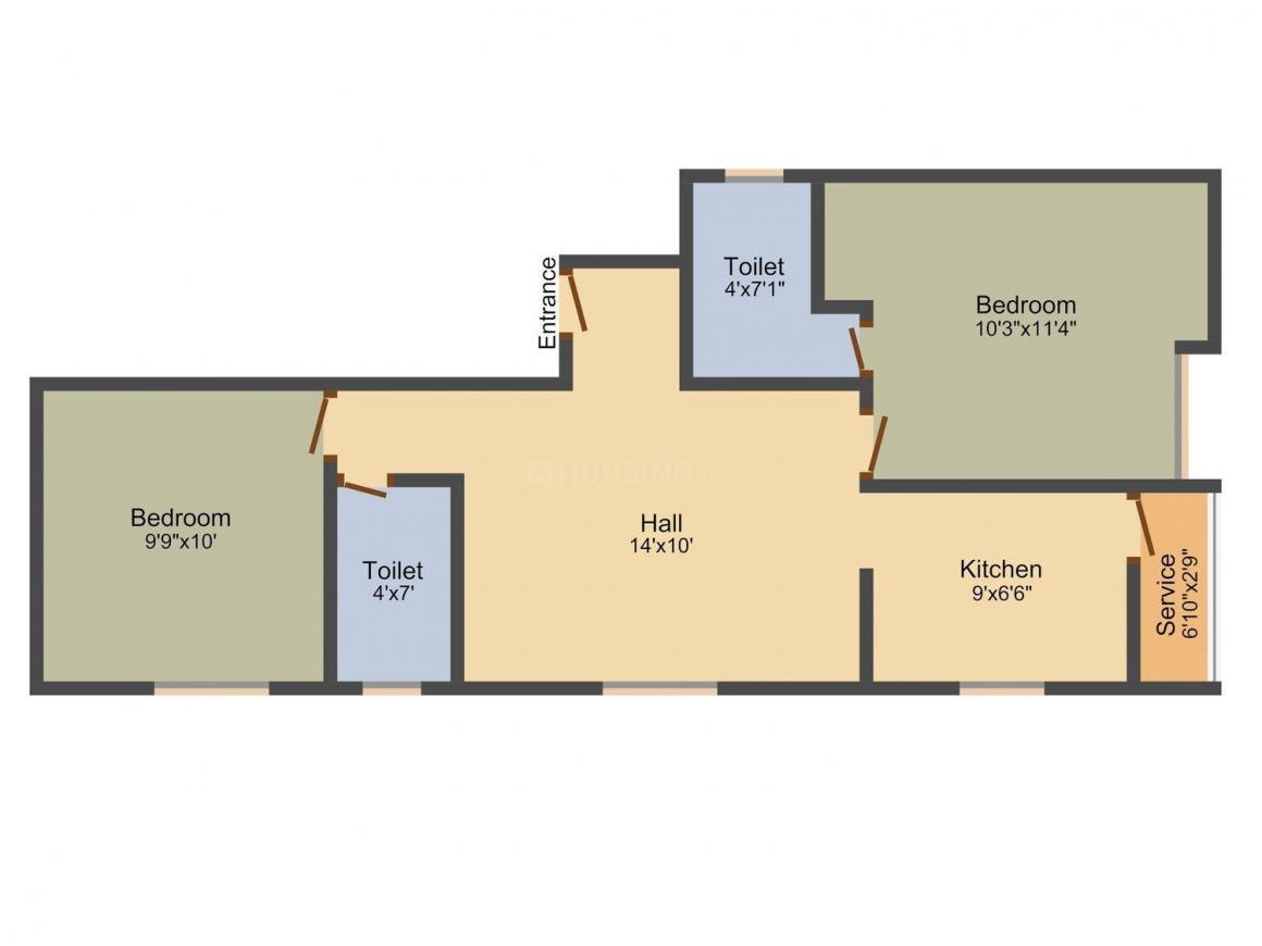 Sai Sagar Floor Plan: 2 BHK Unit with Built up area of 750 sq.ft 1
