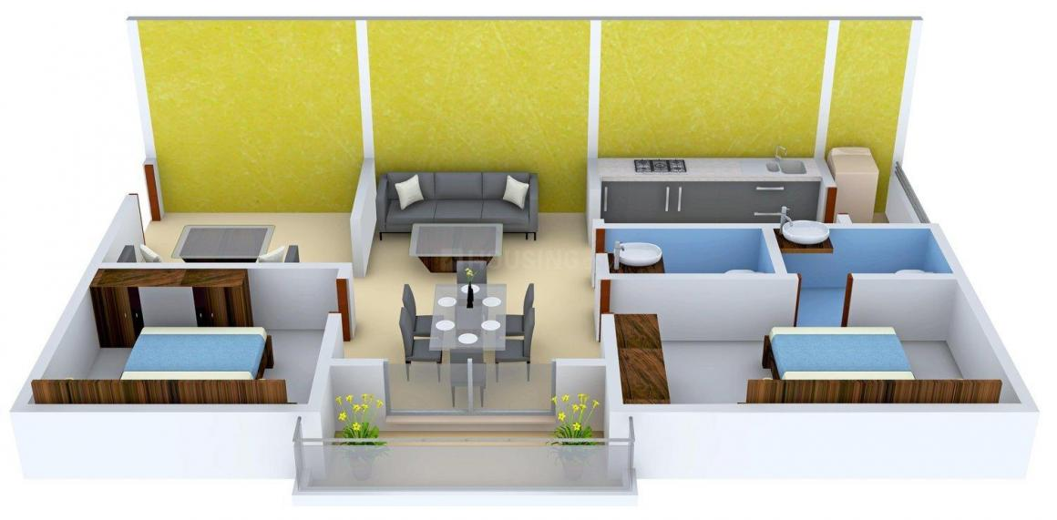 Nestcon Coral Floor Plan: 2 BHK Unit with Built up area of 990 sq.ft 1