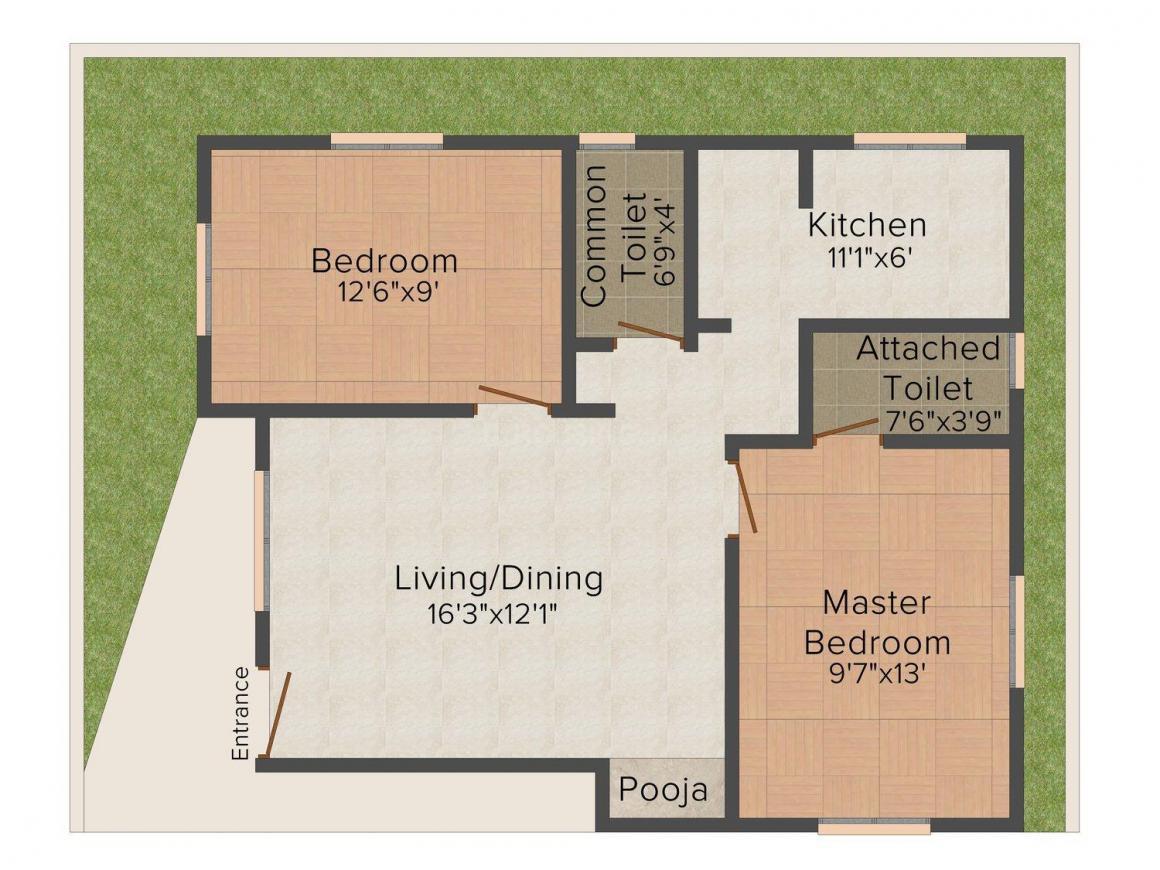 Floor Plan Image of 826.0 - 1260.0 Sq.ft 2 BHK Apartment for buy in Shree Yogaranga Flats