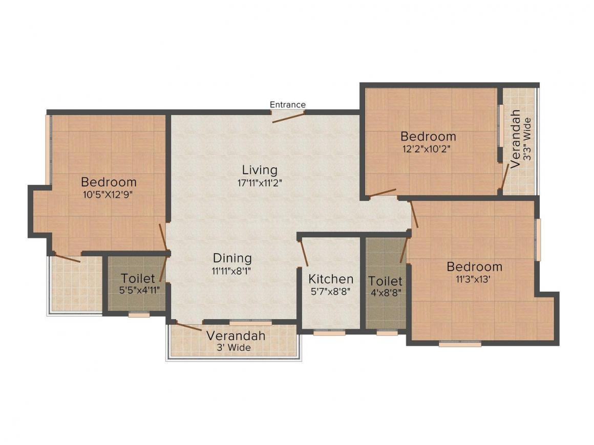Biswas Balaji Tower Floor Plan: 3 BHK Unit with Built up area of 1462 sq.ft 1