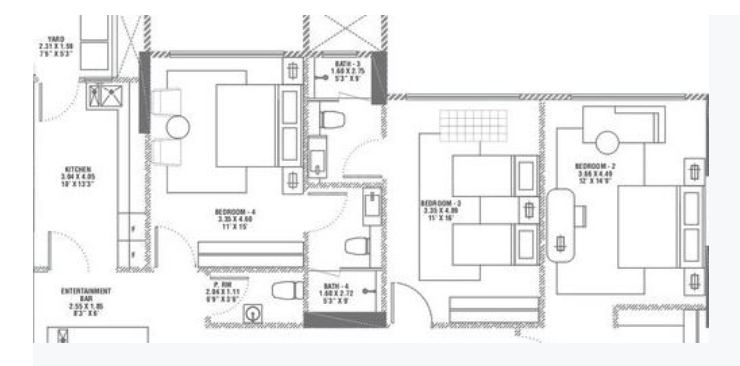 Rustomjee Elements Wing SC Floor Plan: 3 BHK Unit with Built up area of 1585 sq.ft 2