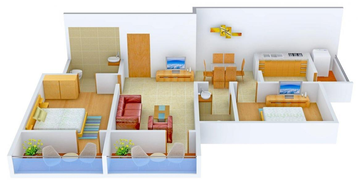 Floor Plan Image of 1215.0 - 1510.0 Sq.ft 2 BHK Apartment for buy in Land Aster Park