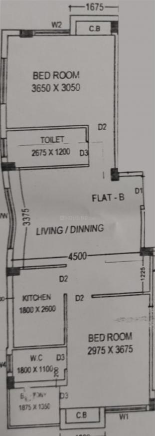 Barui Gukul Apartment Floor Plan: 2 BHK Unit with Built up area of 951 sq.ft 1