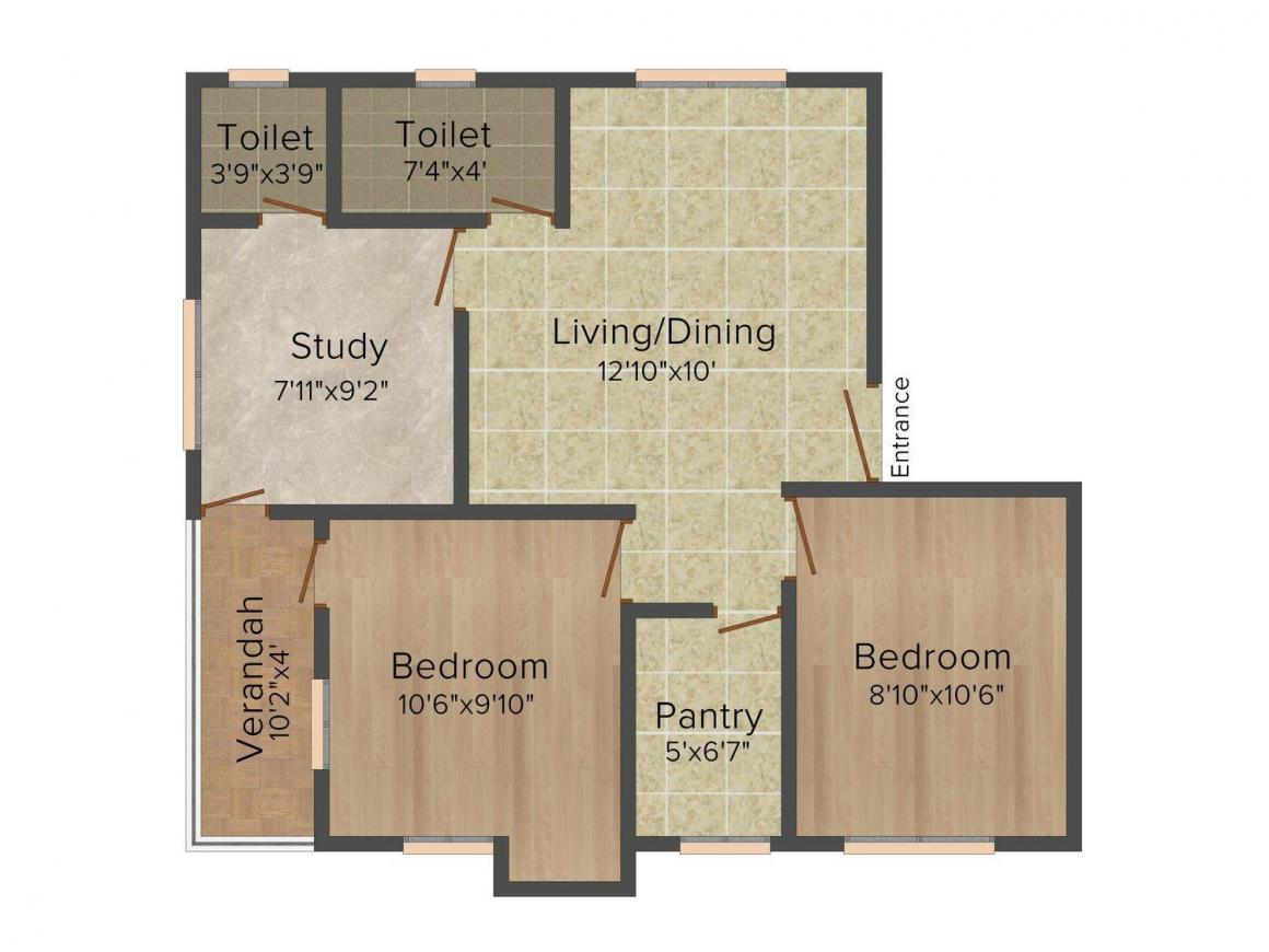 Floor Plan Image of 0 - 930 Sq.ft 2.5 BHK Apartment for buy in Ram 19 1 1A DPP Road