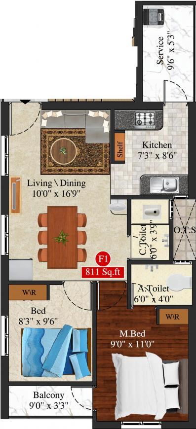 Meenakshi Lakshmi Floor Plan: 2 BHK Unit with Built up area of 811 sq.ft 1