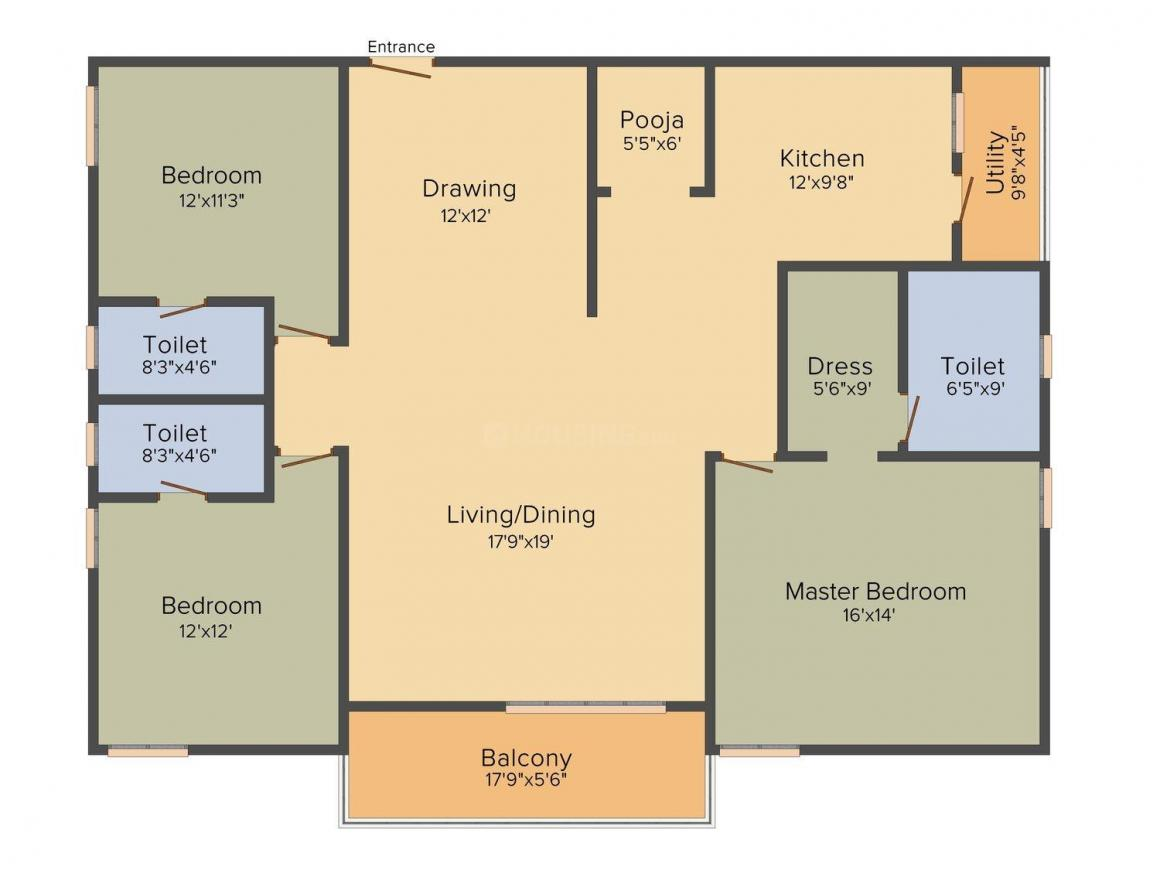 EIPL Rivera Floor Plan: 3 BHK Unit with Built up area of 2025 sq.ft 1