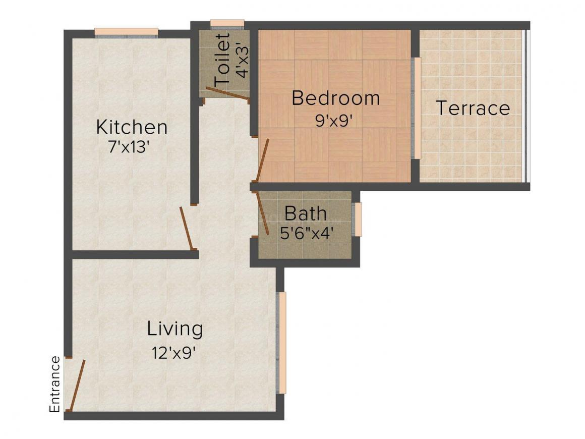 Floor Plan Image of 405 - 585 Sq.ft 1 RK Apartment for buy in Aroma Park