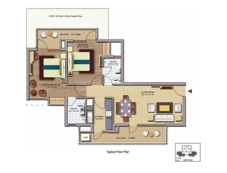 CHD Avenue 71 Floor Plan: 2 BHK Unit with Built up area of 1198 sq.ft 1
