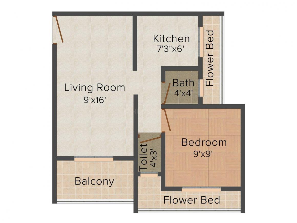 Floor Plan Image of 610 - 630 Sq.ft 1 BHK Apartment for buy in Neelkanth Green Valley
