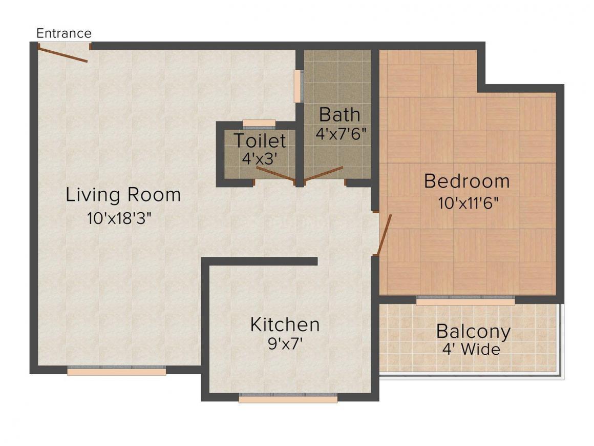 Floor Plan Image of 0 - 694 Sq.ft 1 BHK Apartment for buy in Savitri Chaya