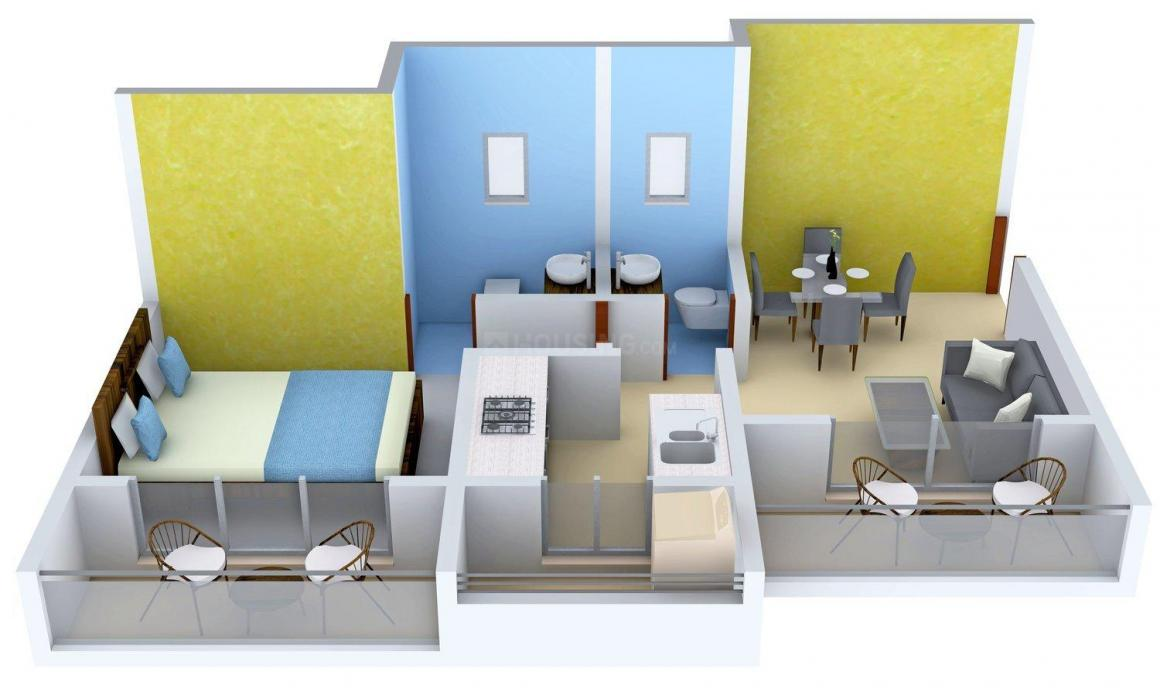 VV Serena Floor Plan: 1 BHK Unit with Built up area of 580 sq.ft 1