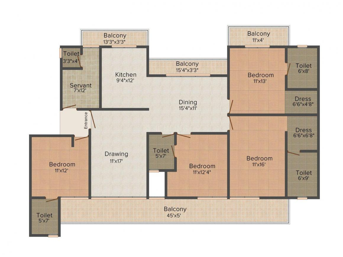 Mehta Homes - 2 Floor Plan: 4 BHK Unit with Built up area of 2100 sq.ft 1