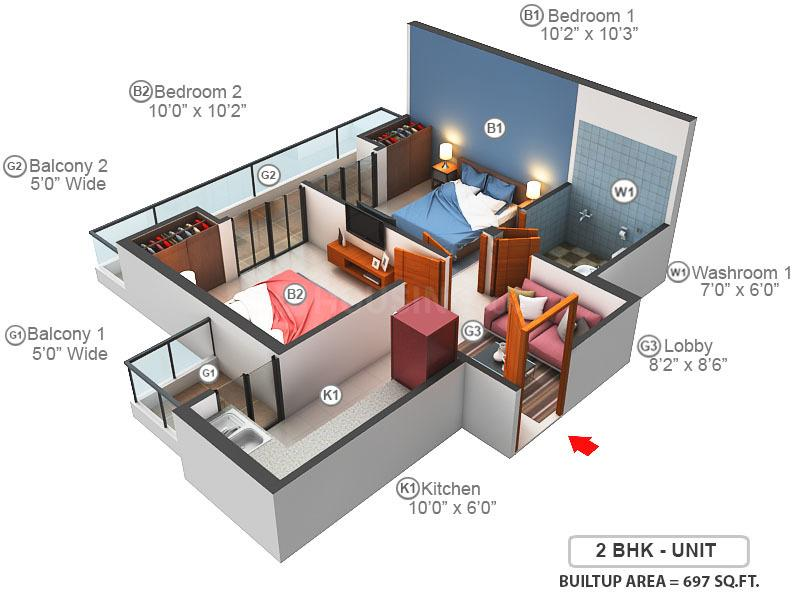 Migsun Wynn Floor Plan: 2 BHK Unit with Built up area of 697 sq.ft 1