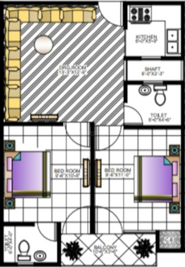 Dushad Homes Floor Plan: 2 BHK Unit with Built up area of 660 sq.ft 1