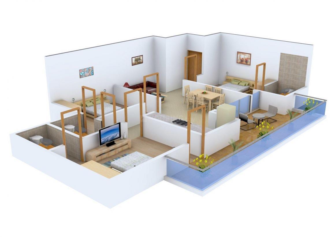 Floor Plan Image of 1350.0 - 1735.0 Sq.ft 3 BHK Apartment for buy in Vivishu Shyam Apartment
