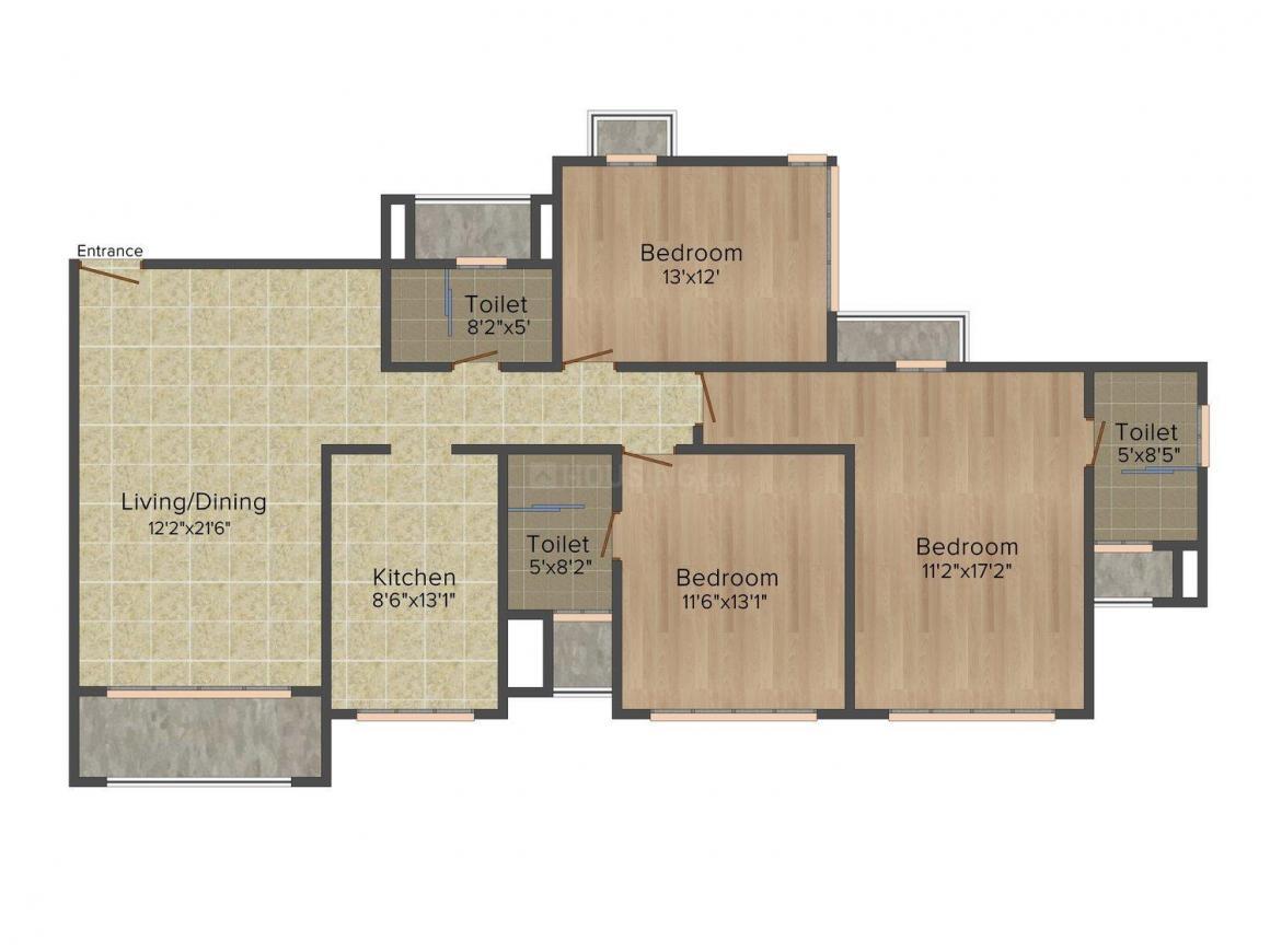 Floor Plan Image of 1133.0 - 1145.0 Sq.ft 3 BHK Apartment for buy in Wadhwa Amarjivan