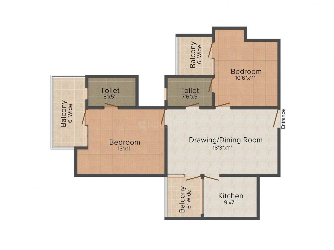 Floor Plan Image of 900 - 2600 Sq.ft 2 BHK Independent Floor for buy in Punj Homes 2