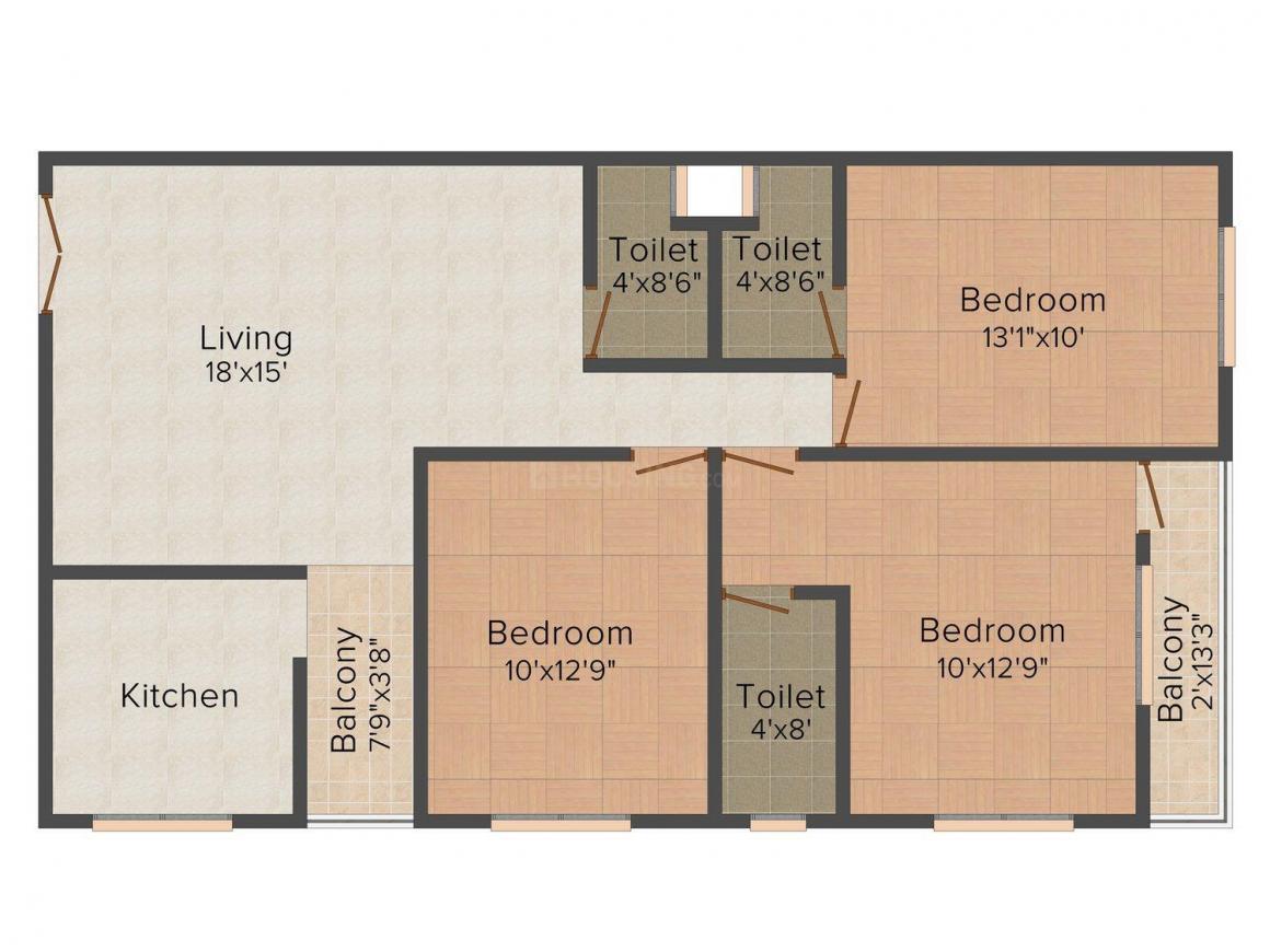 Floor Plan Image of 680.0 - 893.0 Sq.ft 2 BHK Apartment for buy in BM Vijayvargiya Brijkamal Advance