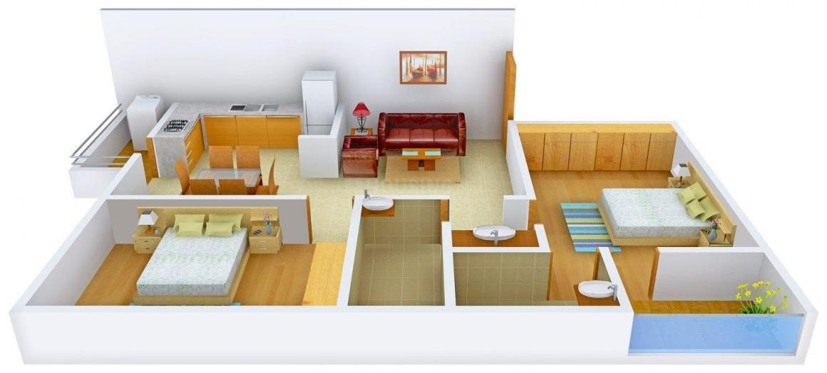 Floor Plan Image of 1095 - 1445 Sq.ft 2 BHK Apartment for buy in Sapthagiri Palm Leaves