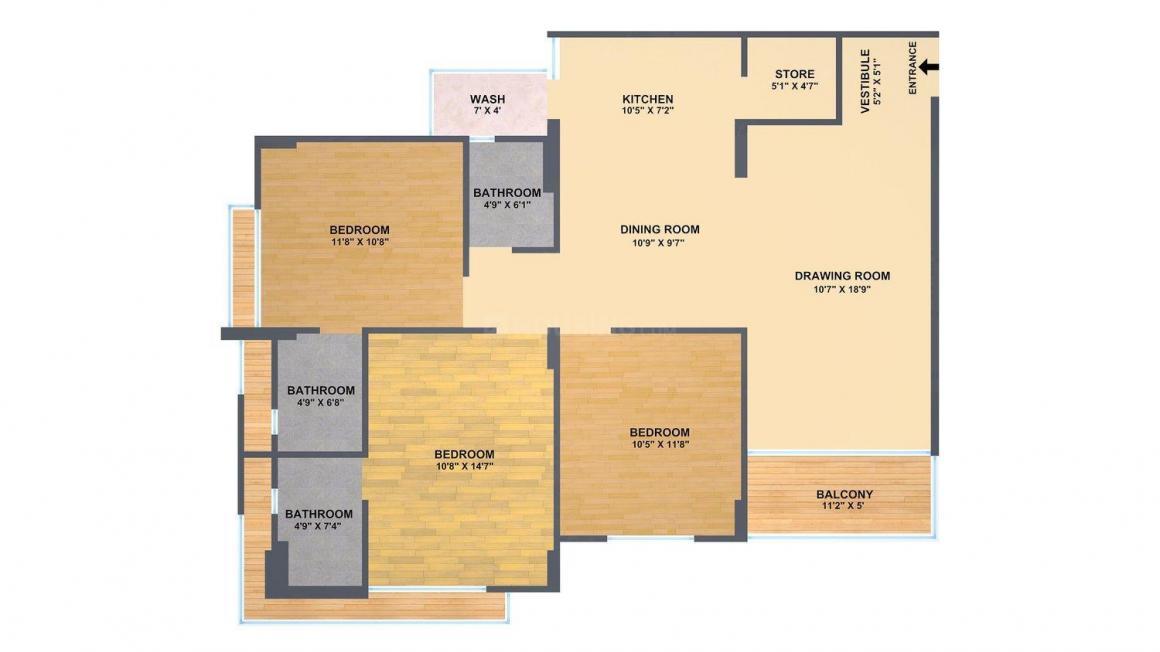 Sangani Aditya Heights Floor Plan: 3 BHK Unit with Built up area of 1890 sq.ft 1