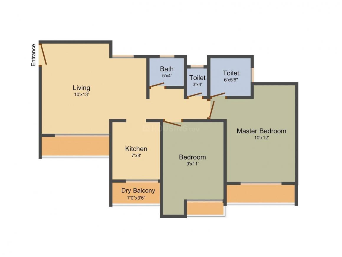 Floor Plan Image of 680 - 990 Sq.ft 1 BHK Apartment for buy in Jangid Orchid