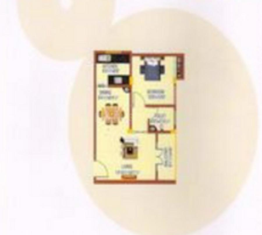 Sowparnika Sai Soukhya Floor Plan: 1 BHK Unit with Built up area of 627 sq.ft 1