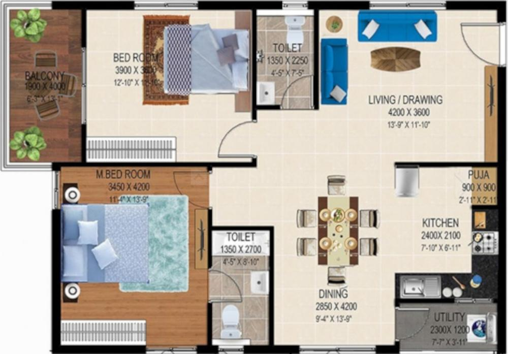 Merlion Galaxia Floor Plan: 2 BHK Unit with Built up area of 1275 sq.ft 1