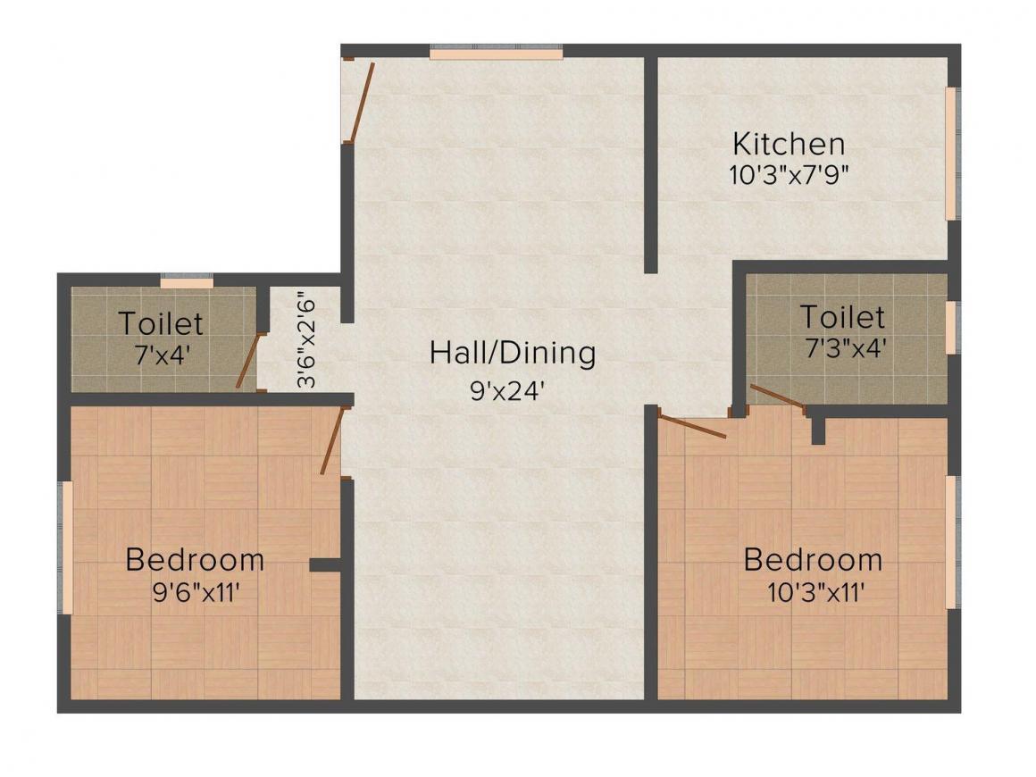 Floor Plan Image of 668 - 941 Sq.ft 2 BHK Villa for buy in Sumathi Metro Square