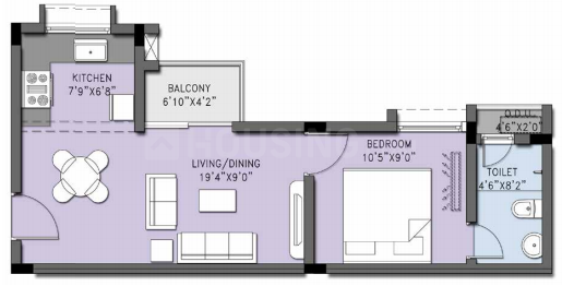 Casagrand Cherry Pick Floor Plan: 1 BHK Unit with Built up area of 590 sq.ft 1