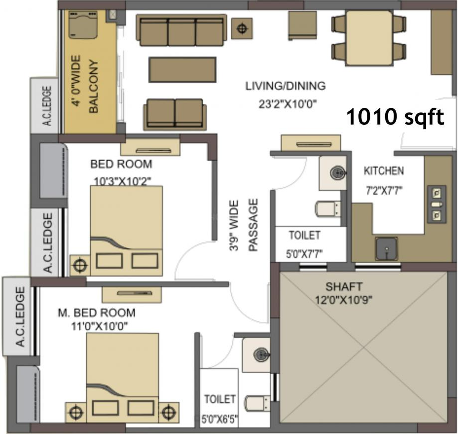 Natura Floor Plan: 2 BHK Unit with Built up area of 1010 sq.ft 1