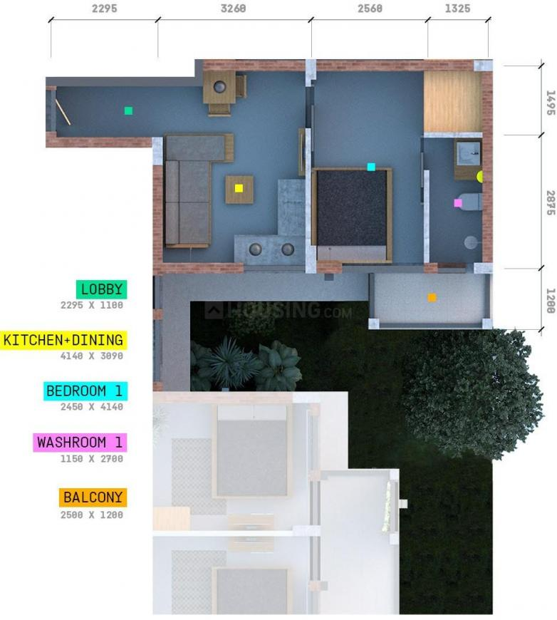 Arete Our Homes - 3 Floor Plan: 1 BHK Unit with Built up area of 344 sq.ft 1