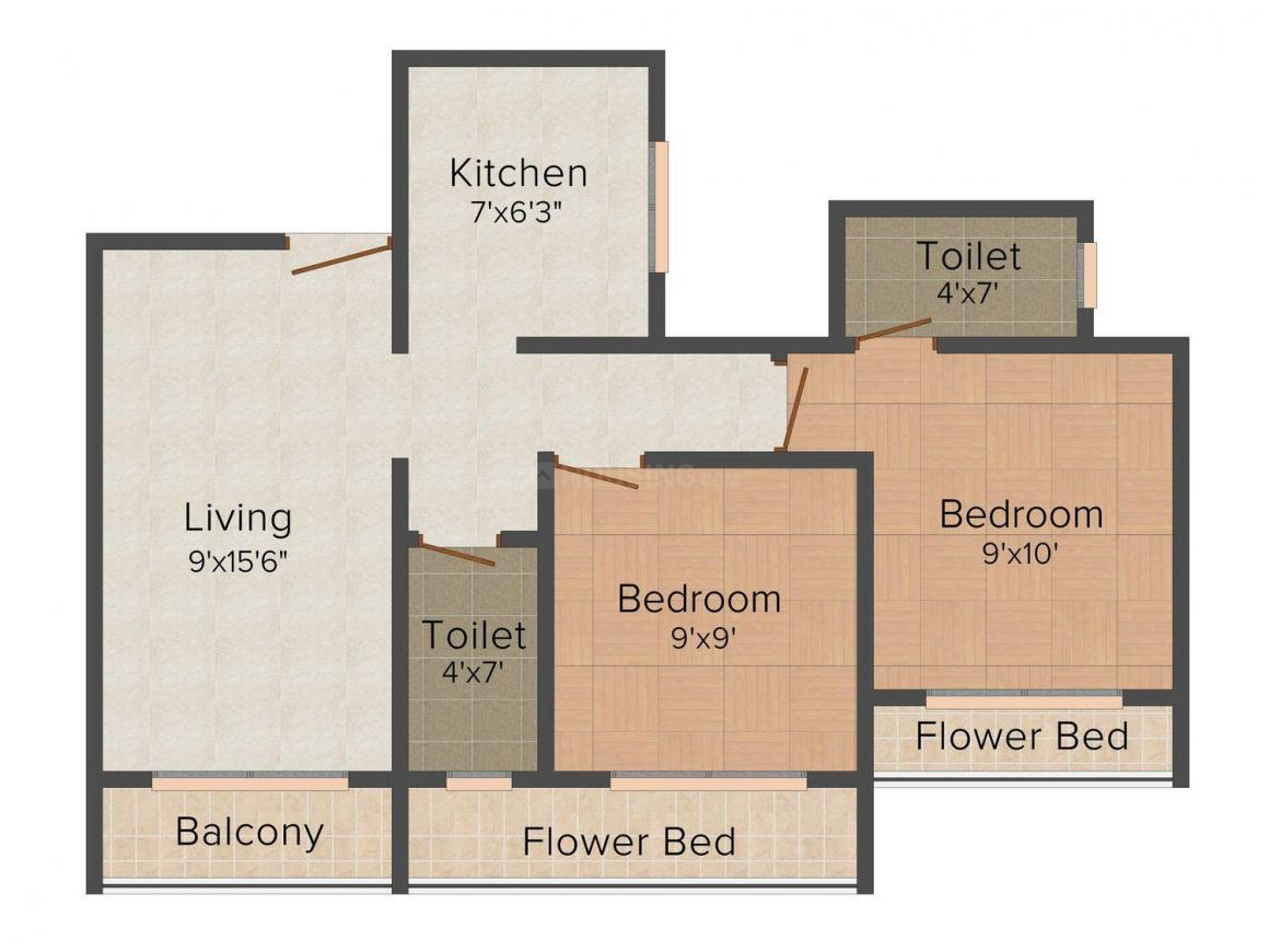 Floor Plan Image of 0 - 995.0 Sq.ft 2 BHK Apartment for buy in Pramukh Residency